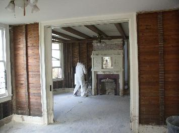 [Gutted         living-dining room]